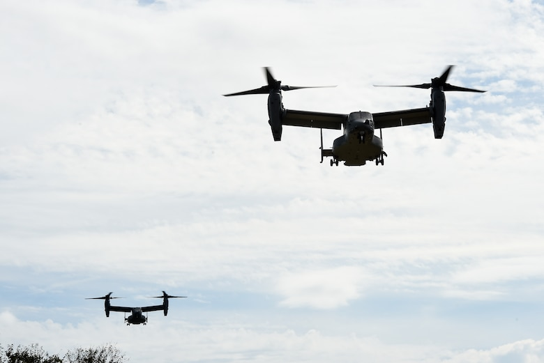 CV-22 Ospreys fly over Camp Shelby, Miss., during Task Force Exercise Southern Strike, Oct. 26, 2016. The CV-22 crews with the 8th Special Operations Squadron provided infiltration/exfiltration air support for Task Force Exercise Southern Strike. (U.S. Air Force photo by Senior Airman Jeff Parkinson)