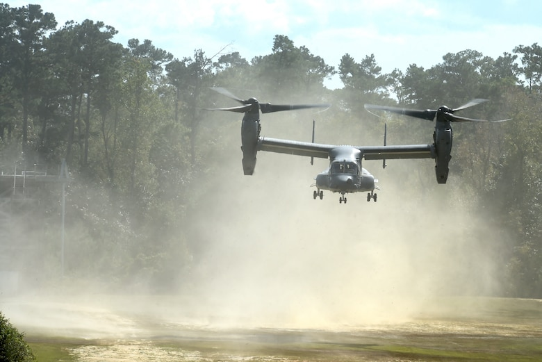 A CV-22 Osprey takes off over Camp Shelby, Miss., during Task Force Exercise Southern Strike, Oct. 26, 2016. The CV-22 crews with the 8th Special Operations Squadron provided infiltration/exfiltration air support for Task Force Exercise Southern Strike. (U.S. Air Force photo by Senior Airman Jeff Parkinson)