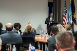 The Honorable Robert Rigsby, an associate judge with the District of Columbia's Superior Court, speaks at the Federal Executive Association's annual workshop Nov. 7 at Defense Supply Center Columbus. The FEA sponsors the workshop each year to improve and leverage coordination between central Ohio's federal organizations.