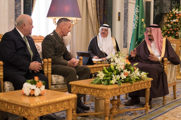 Chairman of the Joint Chiefs of Staff, Gen. Joseph F. Dunford, Jr., met Kingdom of Saudi Arabia, King Salman bin Abdulaziz Al Saud. Gen. Dunford reiterated the United States' commitment to the close U.S.-Saudi relationship and the important role Saudi Arabia plays in regional security. (DoD photo by Myles Cullen)
