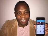 Seniors Airman Jean Marc Tchazou, member of the 439th Force Support Squadron at Westover Air Reserve Base, Mass., has created an app called e911md to help people connect with a doctor, but remain anonymous. (U.S. Air Force photo/ Capt. Meghan Smith)