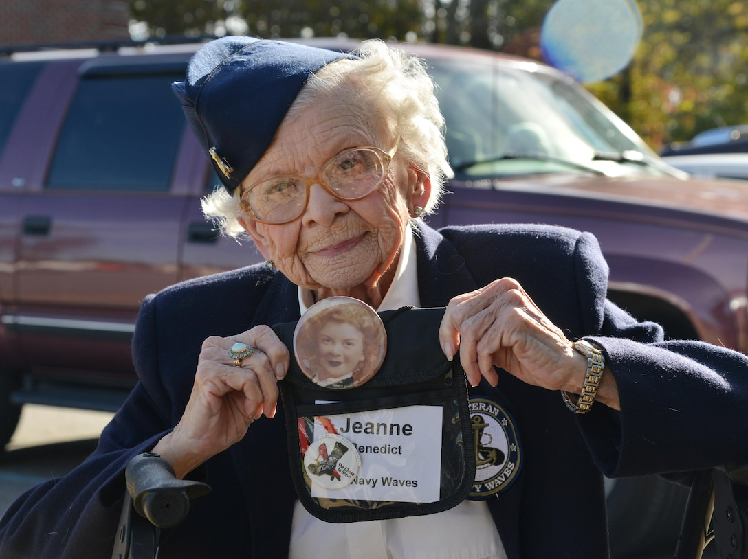 Jeanne Benedict, former U.S. Navy Specialist 2nd Class and former member of Women Accepted for Volunteer Emergency Service poses for a photo during her tour of the 36th Intelligence Squadron at Joint Base Langley-Eustis, Virginia, Nov. 8, 2016. During her service in World War II, Benedict served as cartographer for 22 months. (U.S. Air Force photo by Airman 1st Class Tristan Biese)