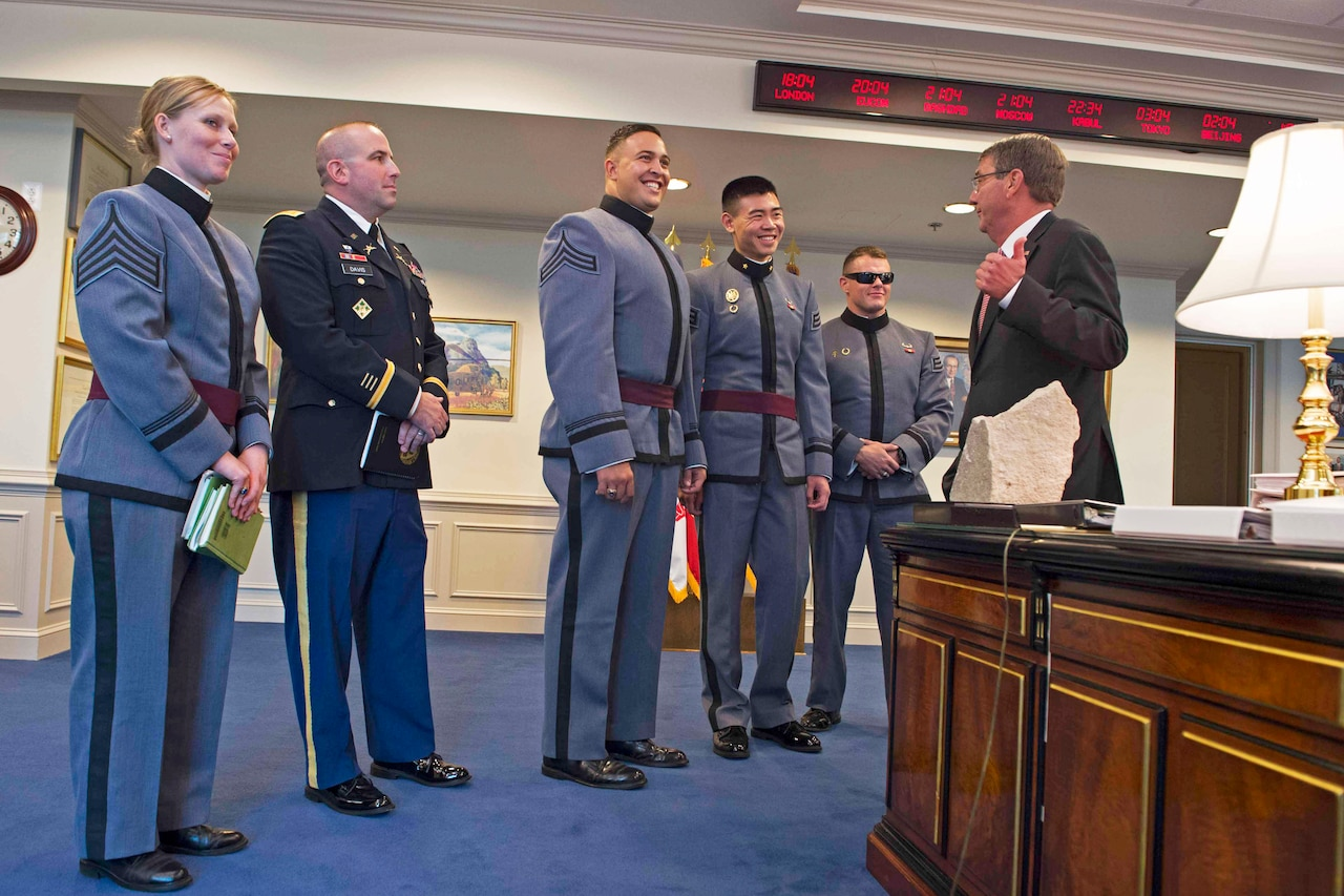 Defense Secretary Ash Carter meets with West Point cadets about Force of the Future initiatives and the best ways to make the armed forces appealing to young adults at the Pentagon, Nov. 9, 2016. DoD photo by Navy Petty Officer 1st Class Tim D. Godbee