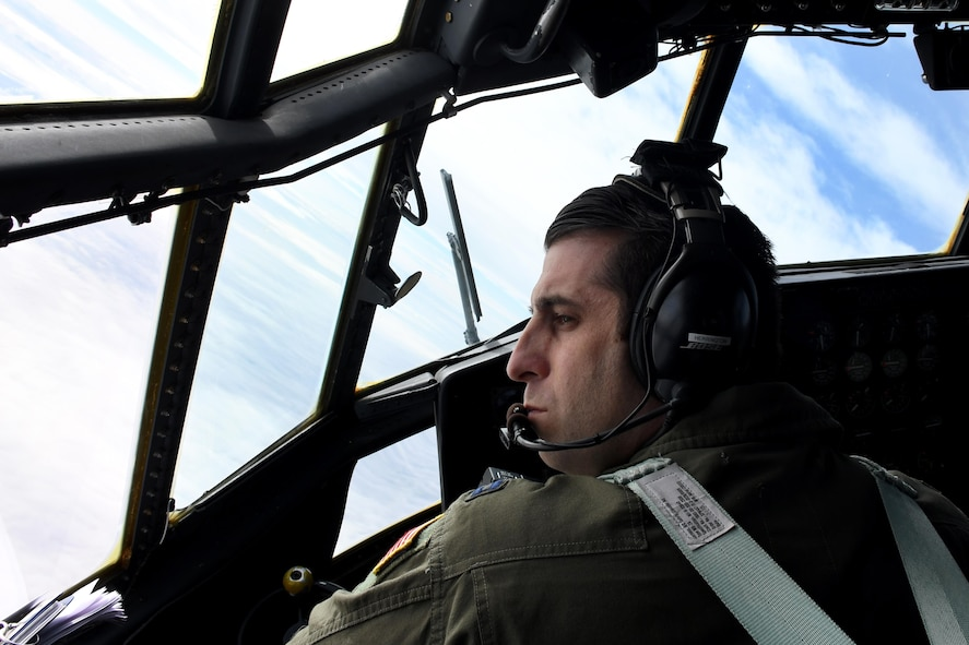 Capt. James Herrington, 700th Airlift Squadron pilot, files a C-130H Hercules over Poland, Oct. 25, 2016. The 94th Airlift Wing trained jointly with the Polish air force during Aviation Detachment 17-1 in support of Operation Atlantic Resolve, Oct. 3-28. (U.S. Air Force photo by Staff Sgt. Alan Abernethy)