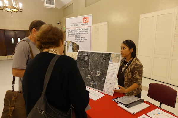 Lillian Doherty, chief of Operations and Maintenance USACE Los Angeles District, discusses the LA River flood zone hazard areas and non-native vegetation removal with attendees at the Glendale Narrows Workshop on Nov. 7.  The Corps conducts non-native vegetation growth removal in the channel to improve LAR capacity.