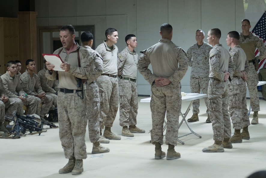 Marine Corps Gen. Joe Dunford, chairman of the Joint Chiefs of Staff, joins deployed Marines in a celebration of the Marine Corps' 241st birthday.