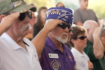 Veterans render a salute during the playing of the Nation Anthem at the City of Henderson, Nev. Veterans Day celebration, Nov. 5.   City officials, veterans groups, family and friends paid tribute to all armed forces members present and past who served for the United States. (U.S. Air Force photo by Lawrence Crespo)