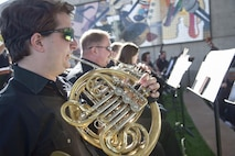 Members for the Henderson Symphony Orchestra play a melody of military songs during the City of Henderson, Nev. Veterans Day celebration, Nov. 5.   Henderson was founded in defense of the U.S. during World War II and continues to recognize military men, women and families for their sacrifice and devotion to the principles of freedom.  (U.S. Air Force photo by Lawrence Crespo)