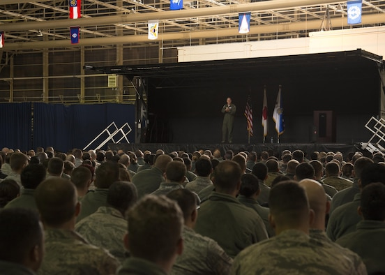 U.S. Air Force Chief of Staff, Gen. David L. Goldfein, addresses Airmen during an all-call at Misawa Air Base, Japan, Nov. 9, 2016. During his immersion tour, Goldfein took time to address many opportunities Airmen and their civilian counterparts have at Misawa, while discussing his focus areas as CSAF. (U.S. Air Force photo by Airman 1st Class Sadie Colbert)