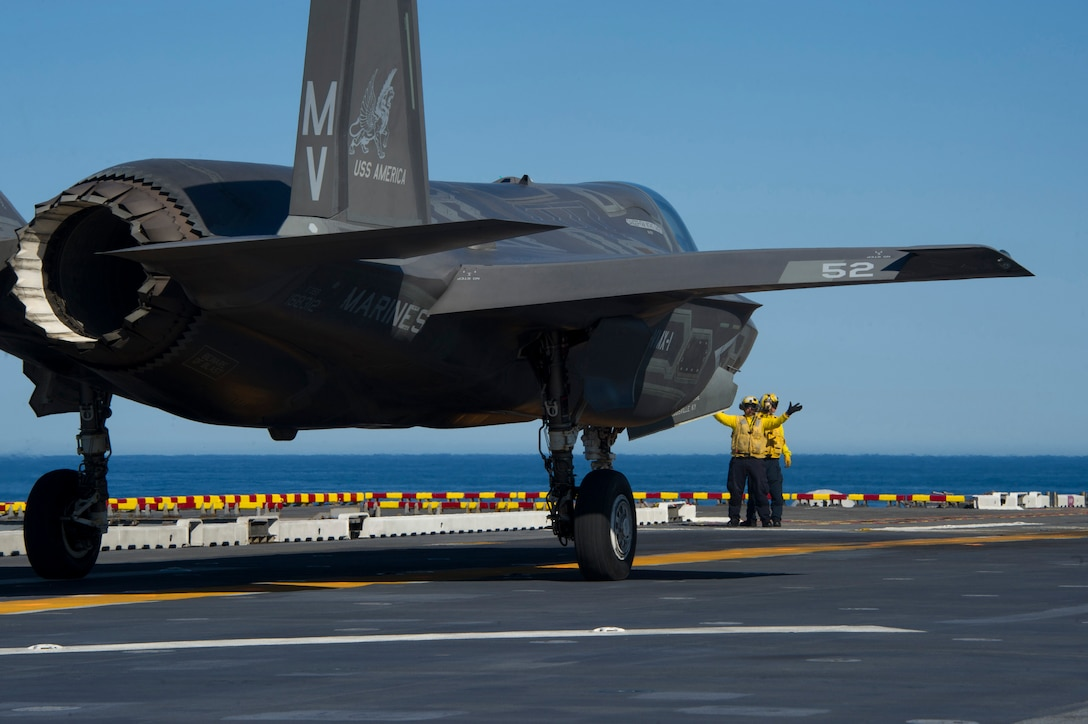 161104-N-VR008-0102 PACIFIC OCEAN (Nov. 4, 2016) An F-35B Lightning II aircraft takes off from the flight deck of amphibious assault ship USS America (LHA 6) during flight operations. The F-35B short takeoff/vertical landing (STOVL) variant is the world's first supersonic STOVL stealth aircraft. America, with Marine Operational Test and Evaluation Squadron 1 (VMX-1), Marine Fighter Attack Squadron 211 (VMFA-211) and Air Test and Evaluation Squadron 23 (VX-23) embarked, are underway conducting operational testing and the third phase of developmental testing for the F-35B Lightning II aircraft, respectively. The tests will evaluate the full spectrum of joint strike fighter measures of suitability and effectiveness in an at-sea environment. (U.S. Navy photo by Petty Officer 3rd Class Kyle Goldberg/Released)