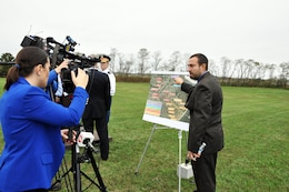 David Gentile, project manager, U.S. Army Corps of Engineers New York District, talked with reporters about the boundaries for Phase 2 of the Hurricane and Storm Damage Reduction Project in Port Monmouth, located in Middletown, N.J.