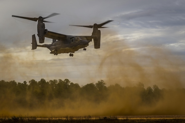 A CV-22 Osprey tiltrotor aircraft assigned to the 8th Special Operations Squadron conducts exfiltration and infiltration exercises at the Eglin Range, Fla., Nov. 8, 2016. The CV-22 combines the vertical takeoff, hover and vertical landing qualities of a helicopter with the long-range, fuel efficiency and speed characteristics of a turboprop aircraft. (U.S. Air Force photo by Airman 1st Class Joseph Pick)