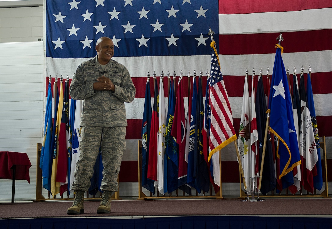 Maj. Gen. Anthony Cotton, 20th Air Force commander, speaks during the 91st Missile Wing birthday celebration at Minot Air Force Base, N.D., Nov. 9, 2016. The general spoke about the importance of the wing's mission in our nation's security for the past 68  years. (U.S. Air Force photos/Senior Airman Apryl Hall)