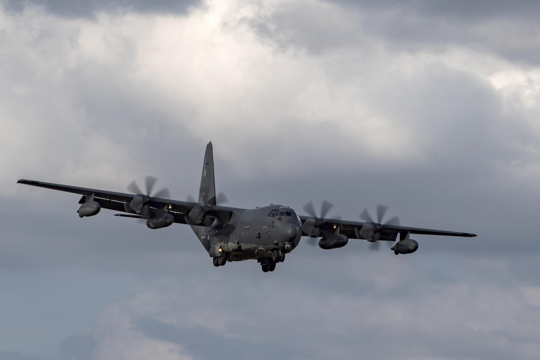 An HC-130J Combat King II from the 71st Rescue Squadron prepares to land during a rapid-rescue exercise, Nov. 2, 2016 in Marianna, Fla. The exercise was designed to test the 347th Rescue Group's ability to rapidly deploy, plan and execute rescue operations in combat environments. The exercise included HC-130J Combat King IIs, HH-60G Pave Hawks, C-17 Globemaster IIIs, A-10C Thunderbolt IIs, E-8C Joint Stars, pararescuemen and maintenance, intelligence and support personnel. (U.S. Air Force photo by Tech. Sgt. Zachary Wolf)