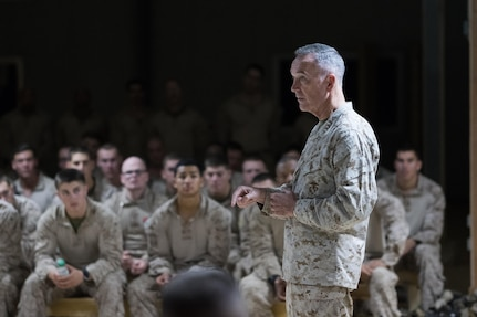 U.S. Marine Corps Gen. Joseph F. Dunford, Jr., chairman of the Joint Chiefs of Staff, visits service members to thank them for supporting Iraqi Counter-ISIL Fight. The mission of the task force here is to support Iraqi forces operating in Anbar province and to train local Sunni tribesmen to take on ISIL and to prevent the terror group from rising again once it is defeated. (DoD photo by Myles Cullen)