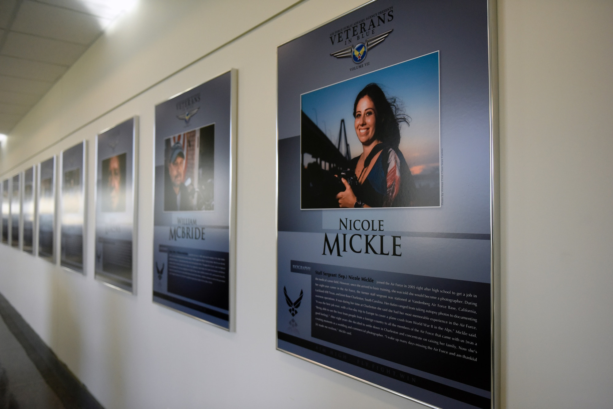 The seventh volume of Veterans in Blue is now available online. The exhibit captures 28 stories of heroism and service by Air Force veterans. Each veteran's portrait is also displayed in the Pentagon. (U.S. Air Force photo/Staff Sgt. Alyssa Gibson)