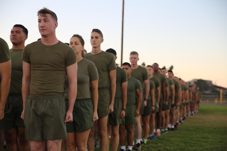 Marines and Sailors with I Marine Expeditionary Force prepare for a motivational run at Marine Corps Base Camp Pendleton, Calif., Nov. 10, 2016. The motivational run was done in celebration of the 241st birthday of the United States Marine Corps. On Nov. 1, 1921, General John A. Lejeune, 13th Commandant of the Marine Corps, directed that Marines throughout the globe would celebrate their traditions on the Marine Corps Birthday, Nov. 10.  (U.S. Marine Corps photo by Pfc. Robert Bliss)