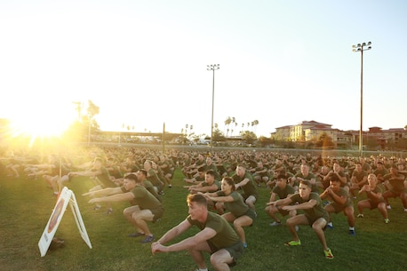 Marines and Sailors with I Marine Expeditionary Force warm up for a motivational run at Marine Corps Base Camp Pendleton, Calif., Nov. 10, 2016. The motivational run was done in celebration of the 241st birthday of the United States Marine Corps. On Nov. 1, 1921, General John A. Lejeune, 13th Commandant of the Marine Corps, directed that Marines throughout the globe would celebrate their traditions on the Marine Corps Birthday, Nov. 10.  (U.S. Marine Corps photo by Pfc. Robert Bliss)