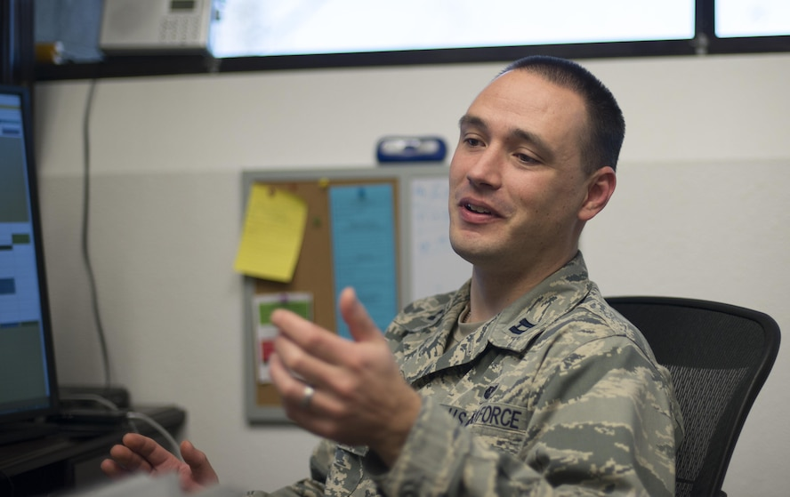 Capt. Justin Rossi, a Special Victims Counsel attorney stationed at Mountain Home Air Force Base, Idaho, explains the services that his office provides Nov. 9, 2016. Capt. Rossi is one of 11 SVCs who provide services to members stationed in the western United States. (U.S. Air Force photo by 2nd Lt. Kevyn Stinett/Released)