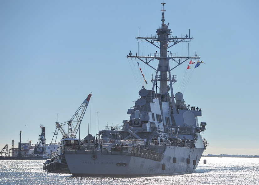 The USS Arleigh Burke (DDG-51) arrives in Charleston, South Carolina, Nov. 10, 2016. The destroyer was named for U.S. Navy Adm. Arleigh A. Burke who served in World War II, the Korean War and as the Chief of Naval Operations. The USS Arleigh Burke is the lead ship of that class of Aegis-equipped guided missile destroyers.