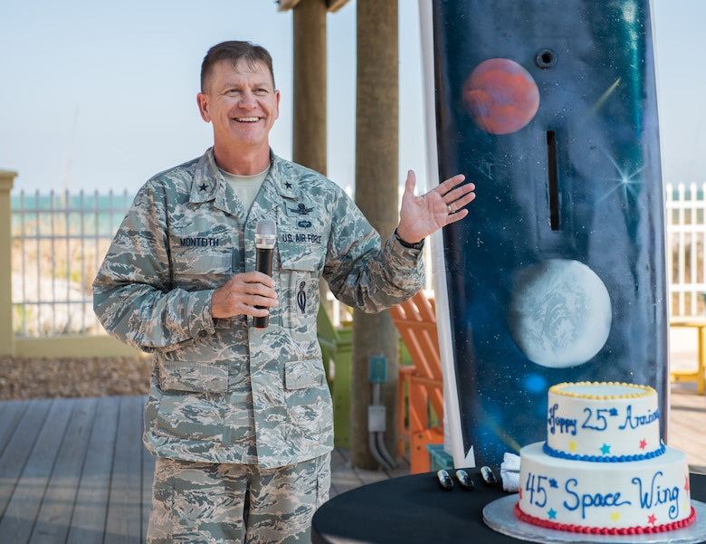 Brig. Gen. Wayne Monteith, 45th Space Wing commander, shares wing history with members at the 25th Anniversary Celebration Nov. 10, 2016, at the Beach House at Patrick Air Force Base, Fla. Since its activation in 1991, the wing has supported more than 550 launches from Cape Canaveral Air Force Station involving numerous space launch vehicles to include the Atlas II-Centaur, Atlas IIIA, Atlas V, Delta II, Delta III, Delta IV, Falcon 9, Space Shuttle and Titan IVB.  (U.S. Air Force photo by Matthew Jurgens)