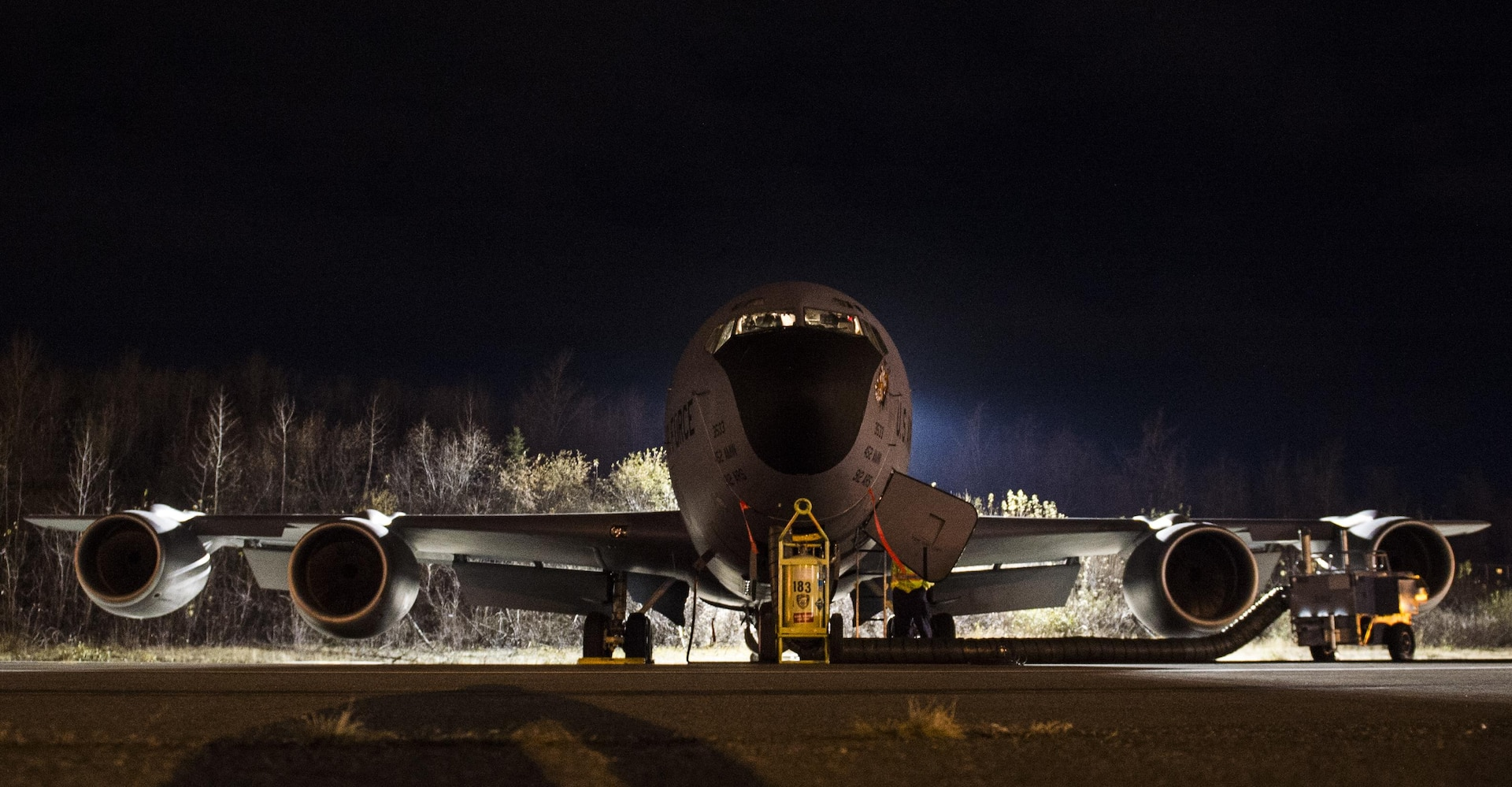 A U.S. Air Force KC-135 Stratotanker belonging to the 912th Air Refueling Squadron from March Air Force Base, Calif., waits for takeoff at Joint Base Elmendorf-Richardson, Alaska, to provide refueling capabilities to Royal Canadian Air Force CF-18s while both units participate in the Vigilant Shield 2017 Field Training Exercise 20 Oct., 2016, in the high arctic.
