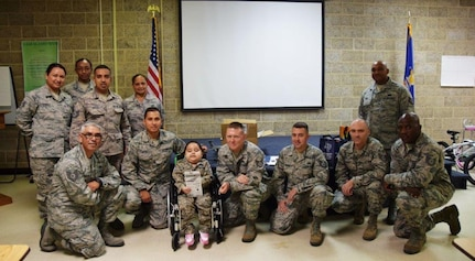 Five-year-old Mayra Salinas, center, poses with members of the 433rd Airlift Wing Rising 6, after being inducted into the group Nov. 5, 2016 at Joint Base San Antonio-Lackland, Texas. Salinas and her family spent the day with members of the Rising 6, visiting the Alamo Wing and getting an up-close look at the C-5M Super Galaxy. The Rising 6 is a private organization comprised of Airmen grades E-1 through E-6. (U.S. Air Force photo/Tech. Sgt. Carlos J. Treviño)
