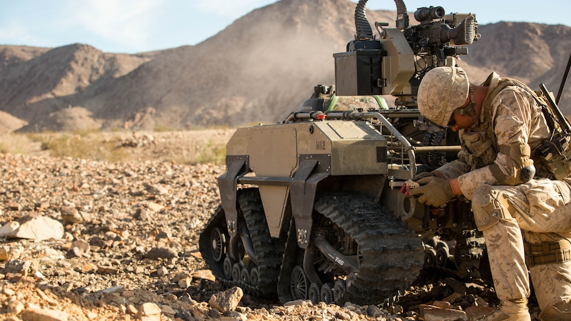 Lance Cpl. Zackary W. Rippin, infantry assaultman, 3rd Battalion, 5th Marine Regiment, operates a weaponized Multi-Utility Tactical Transport vehicle (MUTT) during a company assault on Range 400 at Marine Corps Air Ground Combat Center, Twentynine Palms, California, Nov. 7, 2016, as part of Integrated Training Exercise 1-17. The 28-day exercise is currently the longest-lasting activity that occurs at the installation and involves a series of progressive live-fire exercises that assesses the ability and adaptability of a force of more than 3,500 Marines and sailors. Commandant of the Marine Corps, Gen. Robert B. Neller has designated the battalion as the Marine Corps' experimental force.