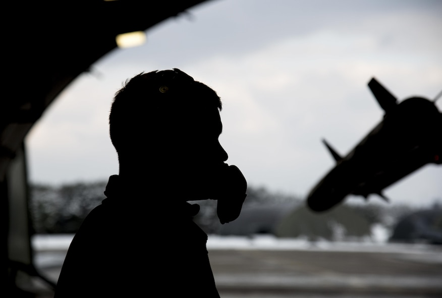 U.S. Air Force Airman 1st Class Patrick O'Connell, a 35th Maintenance Squadron crew chief, checks flight controls during exercise Keen Sword 17, at Misawa Air Base, Japan, Nov. 10, 2016. Exercises like Keen Sword are a decisive demonstration of the strength of the friendship between the people, and provide an indispensible field training environment for enhancing mutual understanding of each country's tactics, communication protocols, procedutres and general interoperability. (U.S. Air Force photo by Airman 1st Class Sadie Colbert)