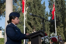 U.S. Air Force 1st. Lt. Jhanelle Haag, 39th Air Base Wing public affairs officer, speaks during a memorial ceremony for Mustafa Kemal Ataturk Nov. 10, 2016, at Incirlik Air Base, Turkey. Haag read the English translation of Ataturk's biography. (U.S. Air Force photo by Senior Airman John Nieves Camacho)