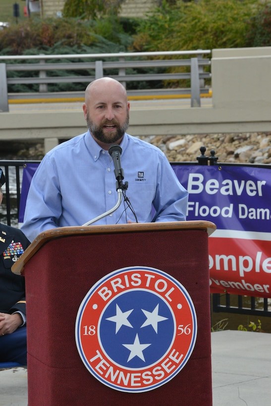 James Bryant, senior program manager within Tennessee Valley Authority's Dam Safety talks at a ceremony to celebrate the completion of the Beaver Creek Flood Reduction Project during a ceremony today at Jerry Good pasture Plaza in Bristol, Tenn.