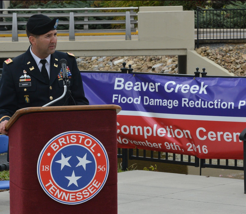 Lt. Col. Stephen Murphy, U.S. Army Corps of Engineers Nashville District commander, addresses guests during the celebration of the completion of the Beaver Creek Flood Damage Reduction Project in Bristol, Tenn., Nov. 9, 2016.   The U.S. Army Corps of Engineers Nashville District joined the cities of Bristol, Virginia and Tennessee along with the Tennessee Valley Authority to celebrate the completion of the Beaver Creek Flood Reduction Project during a ceremony today at Jerry Good pasture Plaza in Bristol, Tenn.