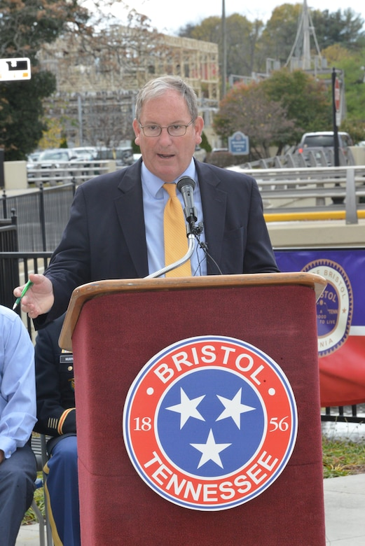 Mike Wilson, U.S. Army Corps of Engineers Nashville District deputy for Project Management, speaks during the celebration of the completion of the Beaver Creek Flood Damage Reduction Project in Bristol, Tenn., Nov. 9, 2016.