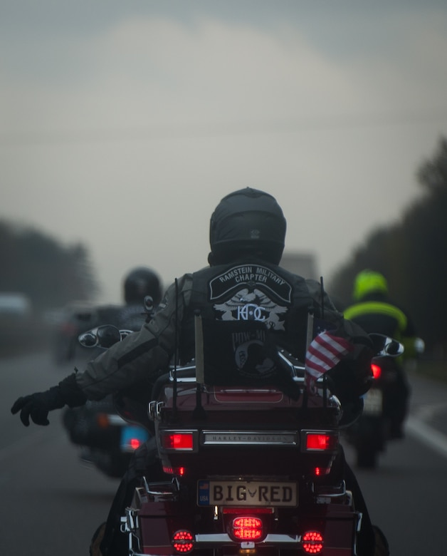 Members of the Ramstein military motorcycle club from the Kaiserslautern Military Community ride in a group as they travel to pay their respects to the deceased at the Lorraine American Cemetery Nov. 11, 2016, at St. Avold, France. Veterans Day is observed annually on November 11 and commemorates military veterans who currently serve or have served the U.S. armed forces, including those who gave the ultimate sacrifice. According to the DoD and Veterans Administration, since World War I, approximately 624,000 U.S. servicemembers have been killed in action battling in wars and conflicts. The Lorraine American Cemetery contains the buried remains of over 10,000 of them. It is the largest burial site of U.S. servicemembers in Europe. (U.S. Air Force photo by Airman 1st Class Lane T. Plummer)