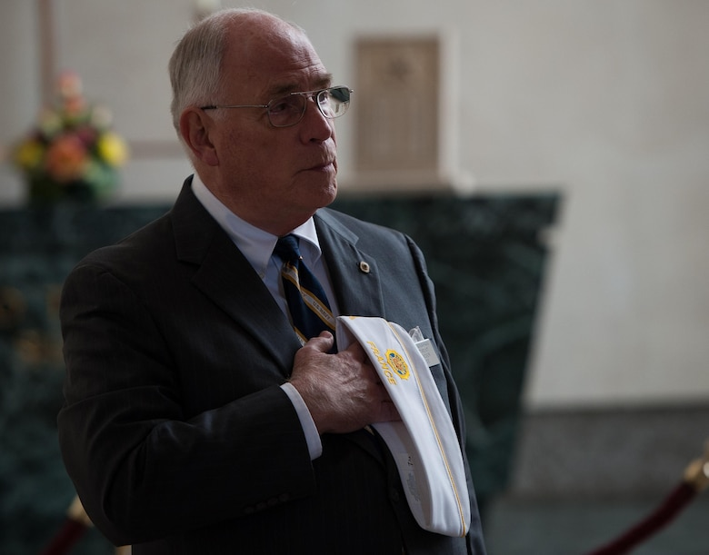 A retired veteran opens a wreath laying ceremony in prayer to honor and pay his respects to the deceased war veterans at Lorraine American Cemetery Nov. 11, 2016, at St. Avold, France. Veteran's Day is observed annually on November 11 and commemorates military veterans who currently serve or have served the U.S. armed forces, including those who gave the ultimate sacrifice. According to the DoD and Veterans Administration, since World War I, approximately 624,000 U.S. servicemembers have been killed in action battling in wars and conflicts. The Lorraine American Cemetery contains the buried remains of over 10,000 of them. It is the largest burial site of U.S. servicemembers in Europe. (U.S. Air Force photo by Airman 1st Class Lane T. Plummer)