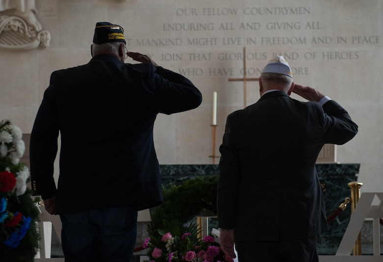 Two war veterans salute the wreaths laid to honor the fallen war veterans at Lorraine American Cemetery Nov. 11, 2016, at St. Avold, France. Veteran's Day is observed annually on November 11 and commemorates military veterans who currently serve or have served the U.S. armed forces, including those who gave the ultimate sacrifice. According to the DoD and Veterans Administration, since World War I, approximately 624,000 U.S. servicemembers have been killed in action battling in wars and conflicts. The Lorraine American Cemetery contains the buried remains of over 10,000 of them. It is the largest burial site of U.S. servicemembers in Europe. (U.S. Air Force photo by Airman 1st Class Lane T. Plummer)