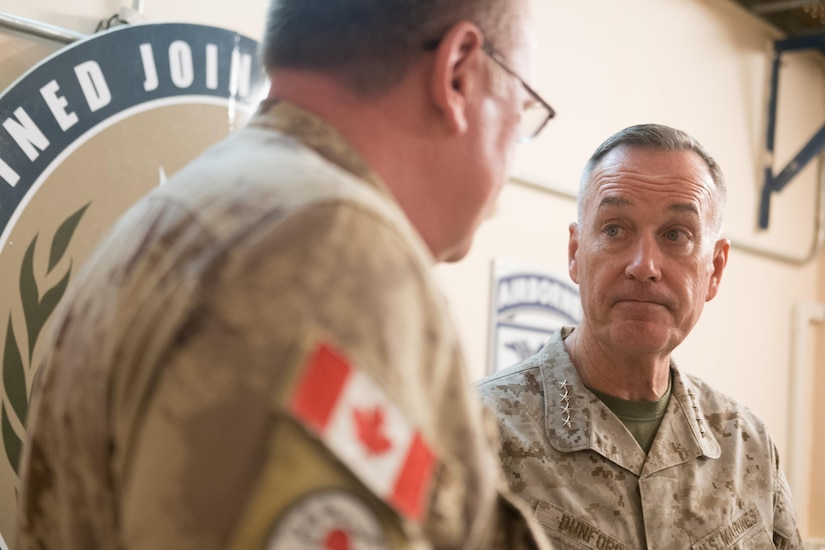 Marine Corps Gen. Joe Dunford, chairman of the Joint Chiefs of Staff, talks with military leaders at the Combined Joint Task Force Operation Inherent Resolve headquarters in Baghdad, Nov. 9, 2016. DoD photo by D. Myles Cullen