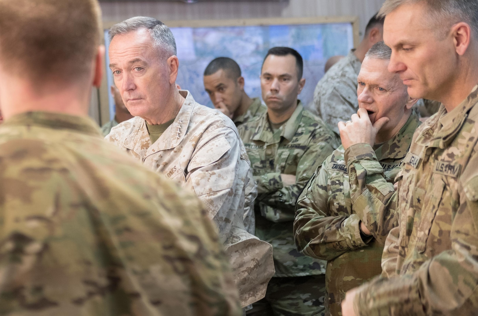 Marine Corps Gen. Joe Dunford, chairman of the Joint Chiefs of Staff, talks with military leaders in Irbil, Iraq, Nov. 9, 2016. DoD photo by D. Myles Cullen