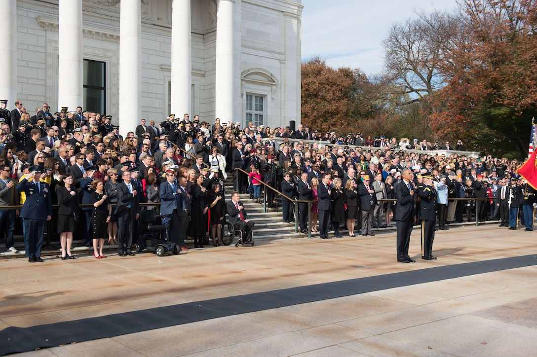 President Barack Obama participates in a Veterans Day wreath-laying ceremony as Defense Secretary Ash Carter, front row, fourth from left, stands by at the Tomb of the Unknown Soldier at Arlington National Cemetery, Va., Nov. 11, 2016. DoD photo by Army Sgt. Amber I. Smith