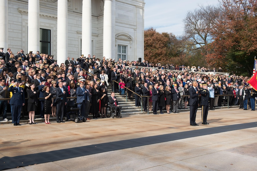 President Barack Obama participates in a Veterans Day wreath-laying ceremony