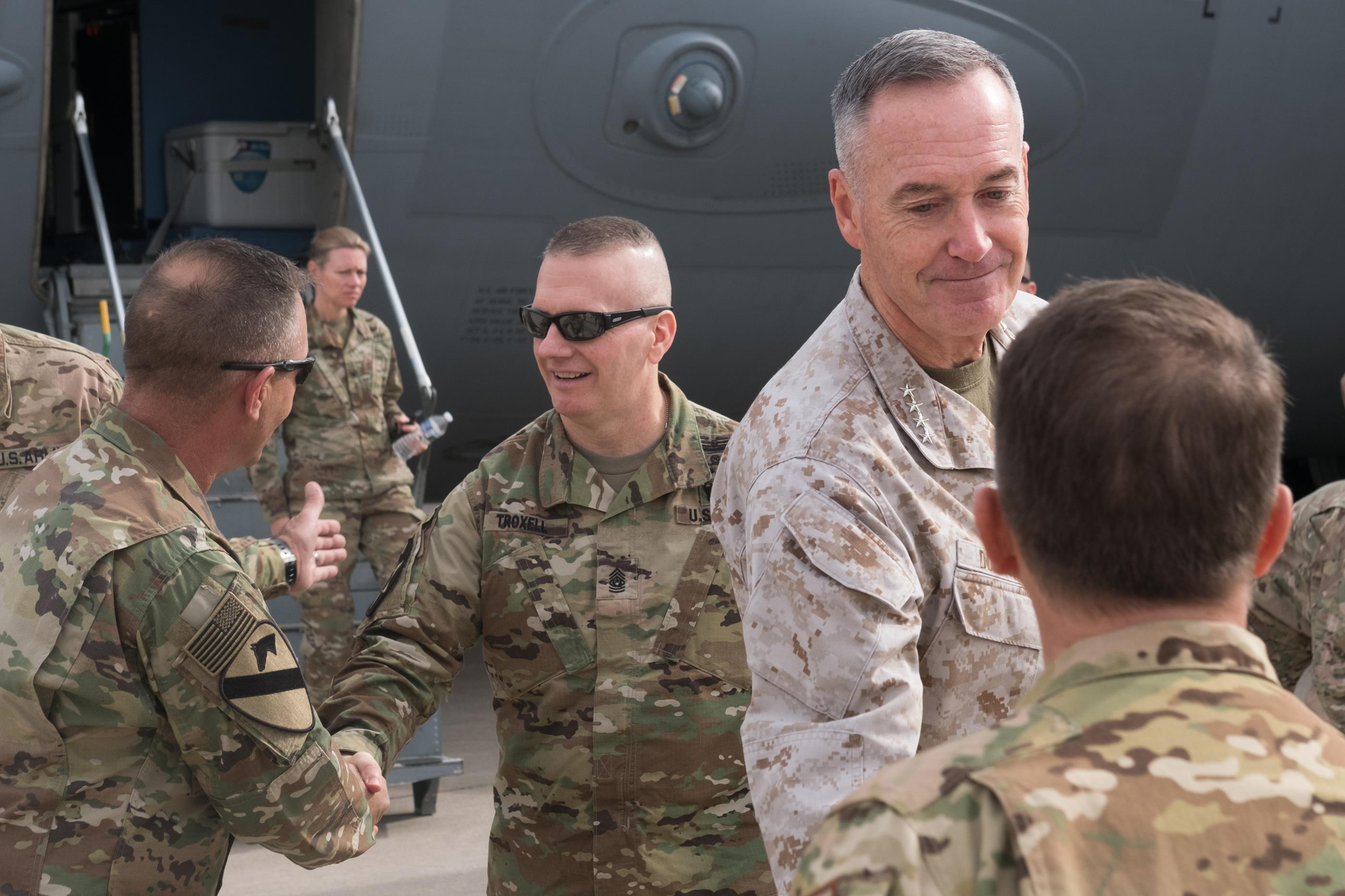 Marine Corps Gen. Joe Dunford, chairman of the Joint Chiefs of Staff, and Army Lt. Gen. Stephen J. Townsend
