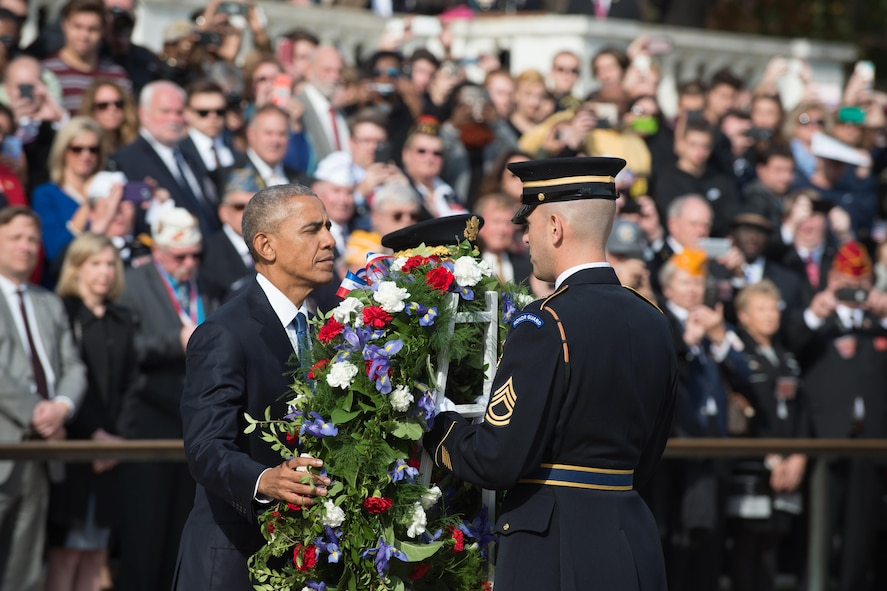 President Barack Obama lays a wreath at the Tomb of the Unknown Soldier
