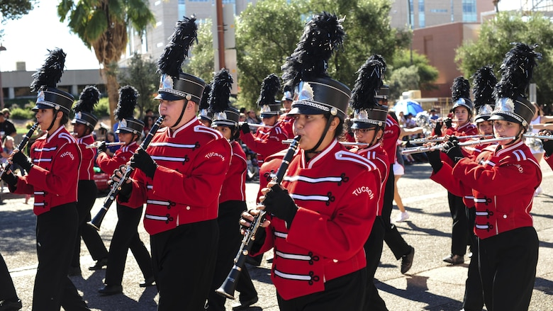 The Tucson High School Band marches in the Tucson Veterans Day Parade in Tucson, Ariz., Nov. 11, 2016. The parade is an annual event that honors U.S. service members past and present. (U.S. Air Force photo by Airman Nathan H. Barbour)