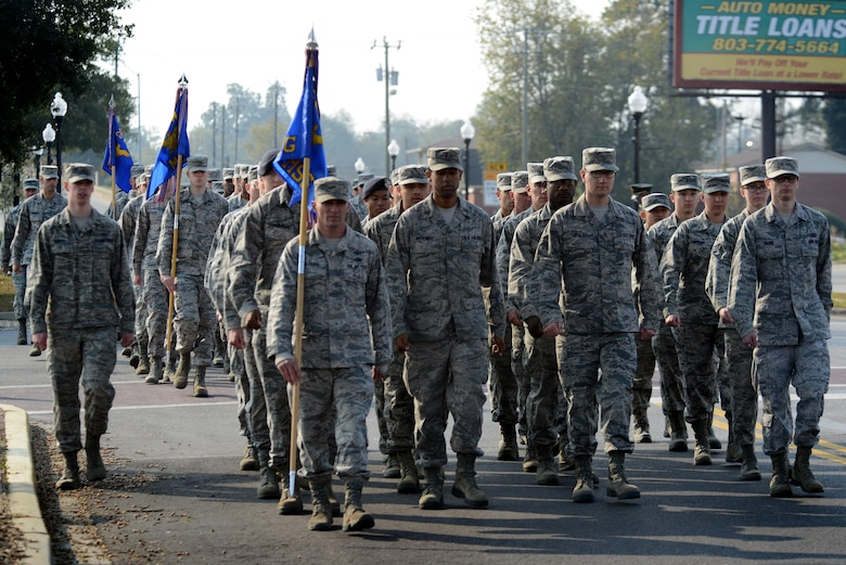 U.S. Airmen assigned to the 20th Fighter Wing march in formation during a Veterans Day parade, Sumter, S.C., Nov. 11, 2016. This year's parade was the second held in Sumter since 1987. (U.S. Air Force photo by Airman 1st Class Kelsey Tucker)