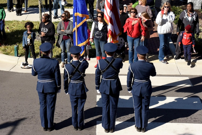 The annual Wayne County Veterans Day parade kicked off, Nov. 11, 2016, in Downtown Goldsboro, North Carolina to honor all who have served our country, past and present. More than 220 Airman from Seymour Johnson Air Force Base, North Carolina marched in the parade attended by about 8,000 people. (U.S. Air Force photo by Airman Miranda A. Loera)