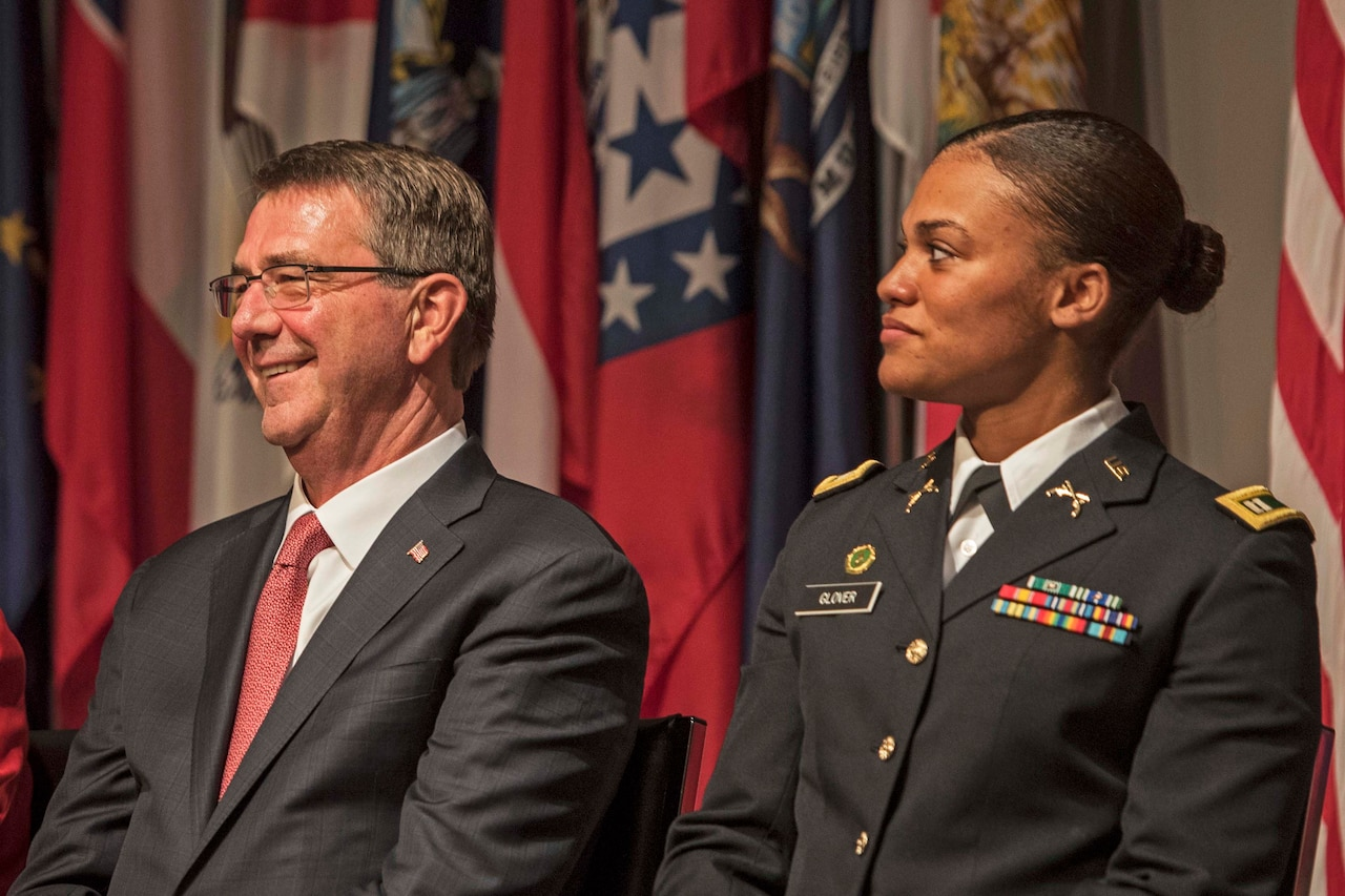 Defense Secretary Ash Carter reacts to a light moment during the 19th annual Veterans Day ceremony at the Women in Military Service for America Memorial at Arlington National Cemetery in Arlington, Va., Nov. 11, 2016. DoD photo by Air Force Tech. Sgt. Brigitte N. Brantley