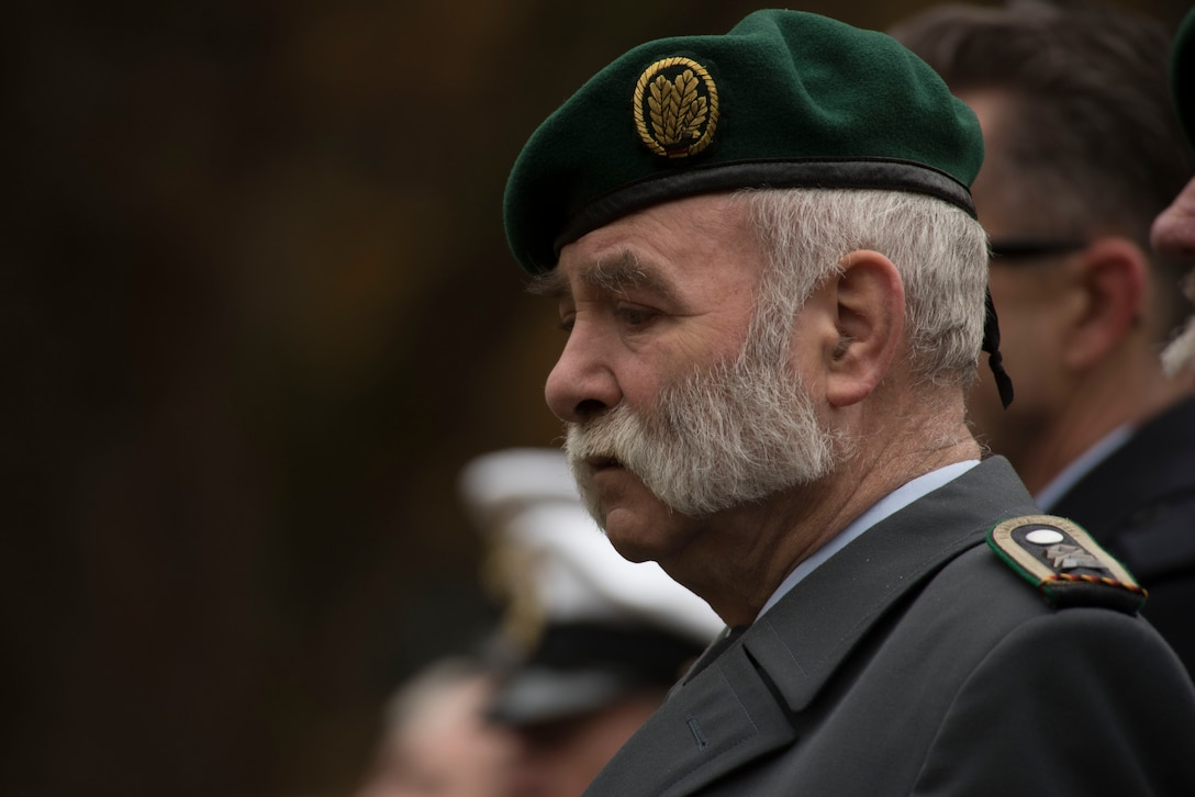 German Army Reserve Chief Bernd Quirin pauses during a German National Day of Mourning observance ceremony at the Kolmeshöhe Military Cemetery in Bitburg, Germany, Nov. 13, 2016. The day, known as Volkstrauertag in German, observes the human cost of war and was established following the conclusion of the First World War. (U.S. Air Force photo by Staff Sgt. Joe W. McFadden)