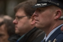 U.S. Air Force Col. Joe McFall, 52nd Fighter Wing, Spangdahlem Air Base, Germany, right, and Joachim Kandels, mayor of the city of Bitburg, Germany, pause during a German National Day of Mourning observance ceremony at the Kolmeshöhe Military Cemetery in Bitburg, Germany, Nov. 13, 2016. The day, known as Volkstrauertag in German, observes the human cost of war and was established following the conclusion of the First World War. (U.S. Air Force photo by Staff Sgt. Joe W. McFadden)