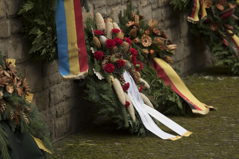 A collection of memorial wreaths remain on display during a German National Day of Mourning observance ceremony at the Kolmeshöhe Military Cemetery in Bitburg, Germany, Nov. 13, 2016. The day, known as Volkstrauertag in German, observes the human cost of war and was established following the conclusion of the First World War. (U.S. Air Force photo by Staff Sgt. Joe W. McFadden)