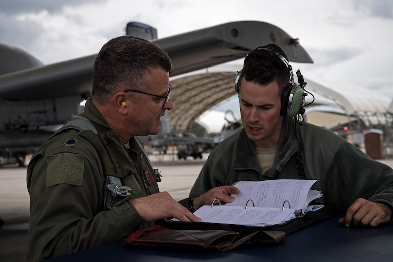 U.S. Air Force Reserve Lt. Col Robert Sweet, 476th Fighter Group A-10C Thunderbolt II pilot and Staff Sgt. Christopher Fisher, 74th Aircraft Maintenance Unit crew chief, check paperwork before a flight during a surge exercise, Nov. 9, 2016, at Moody Air Force Base, Ga. Moody's 476th and 23d Fighter Groups, 23d Maintenance Group and geographically seperated units from the 93d Air Ground Operations Wing integrated during the exercise, performing non-stop operations that tested the A-10's maintenance and aviation capabilities to enhance mission readiness. (U.S. Air Force photo by Airman 1st Class Janiqua P. Robinson)
